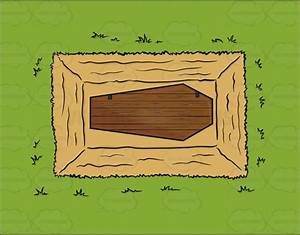 Cartoon Clipart: The View Of A Coffin In The Ground From Above