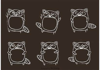 Chalk Raccoon Vector Cartoon Drawn Svg Forest
