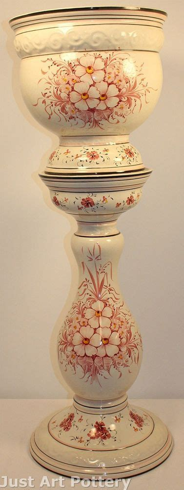 portugal art pottery floral jardiniere and pedestal