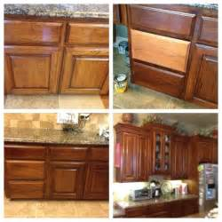 before and after of my oak cabinets lightly sanded and
