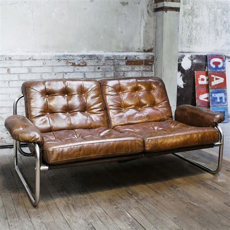divanetto 2 posti divanetto vintage marrone in cuoio 2 posti gary maisons