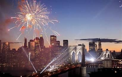 Fuegos Artificiales Brooklyn York Fondos Puente