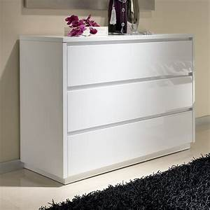 Commode Blanc Laqué : commode 3 tiroirs design blanche tobia zd1 comod a d ~ Teatrodelosmanantiales.com Idées de Décoration