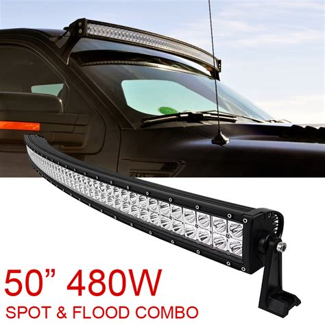 offroad led light bar 50 quot inch 480w spot flood combo cree curved led light bar