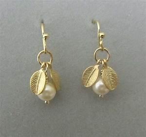 Simple dangling Pearl earrings gold earrings Gold by ...