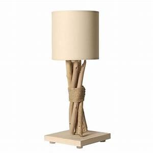 Lampe Chevet Bois Flotté : petite lampe poser en bois flott abat jour beige ~ Teatrodelosmanantiales.com Idées de Décoration
