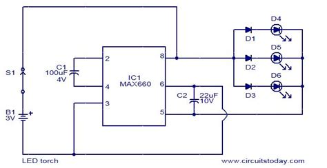 led torch using max660 electronic circuits and diagrams