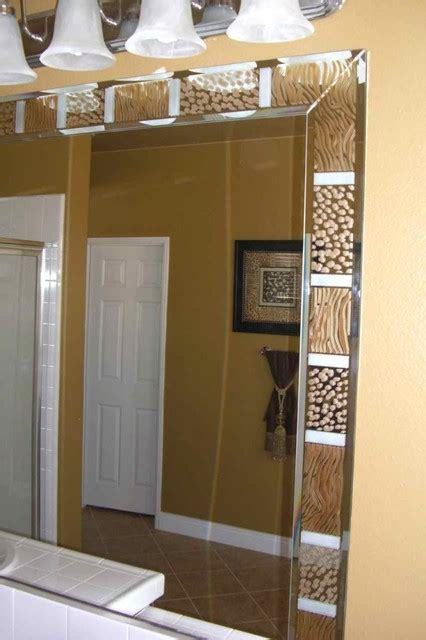 animal print border decorative mirror  etched carved