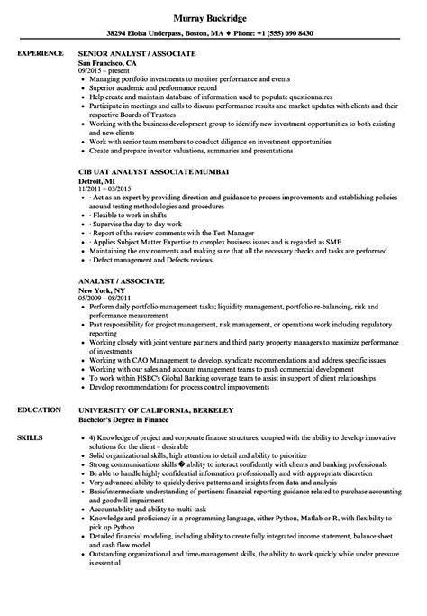 analyst associate resume samples velvet jobs
