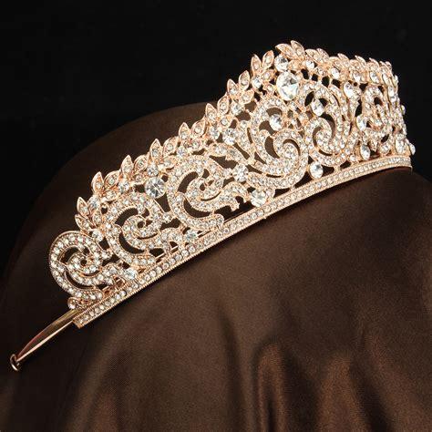 rose gold crystal wedding bridal crown rhinestone party