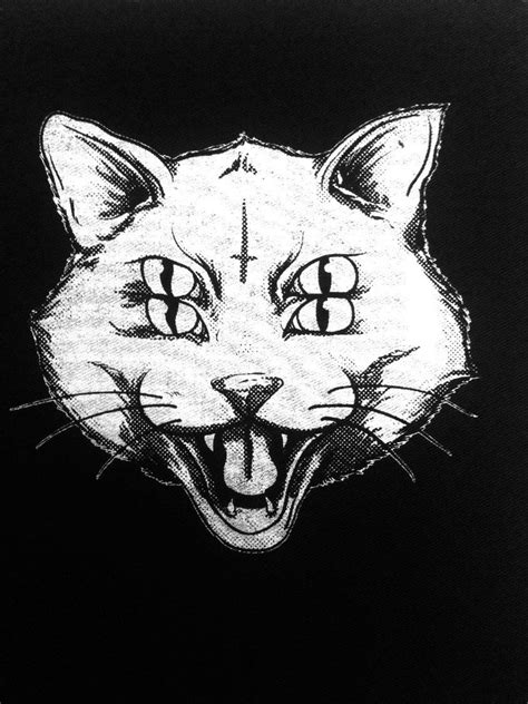 Four Eye Cat patch Punk Patch Horror Black (2.99 USD) by OneHandPrinting | Etsy Finds | Punk