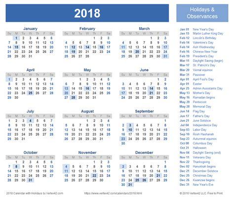 2015 Calendar Template With Holidays Printable Calendar 2018 2018 Calendar Templates Images And Pdfs
