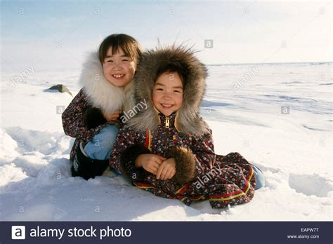 eskimo kostüm kinder portr 228 t inupiat eskimo kinder winter nome w ak nsisters