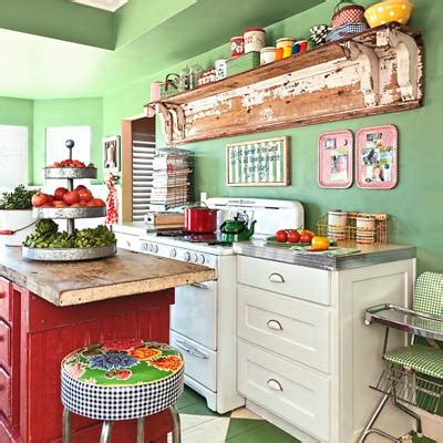 green  red rustic kitchen interiors  color