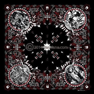 jesus christ christian bandana black red