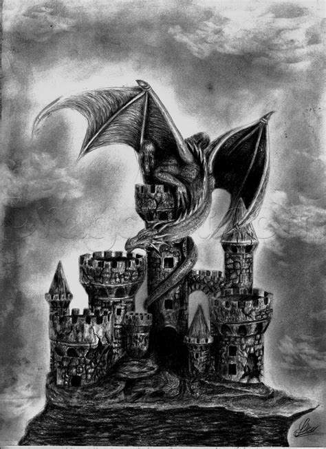 How to Draw a Dragon and Castle, Step by Step, Dragons