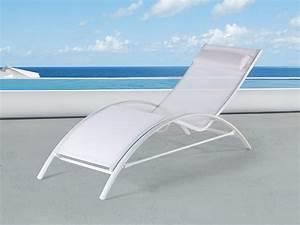 Chaise Longue Aluminium : transat en aluminium chaise longue inclinable blanc ~ Teatrodelosmanantiales.com Idées de Décoration