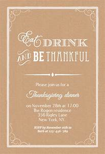 Template For Christmas Invitation Eat Drink And Be Thankful Thanksgiving Invitation
