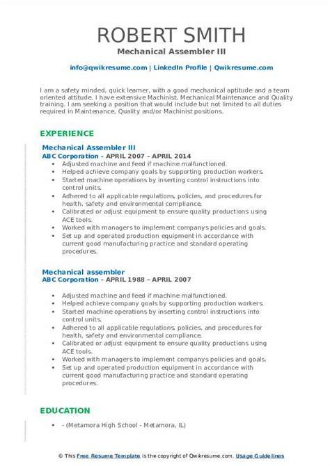 mechanical assembler resume samples qwikresume