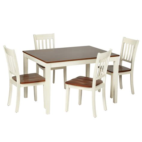 dining table set for 2 two tone wood dining table and chairs set 5 piece