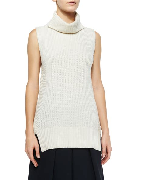 sleeveless turtleneck sweater vince ribbed sleeveless turtleneck sweater in white