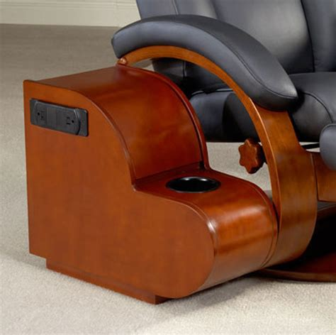 recliner with storage ottoman mac motion oslo 54 triple leather swivel recliner and