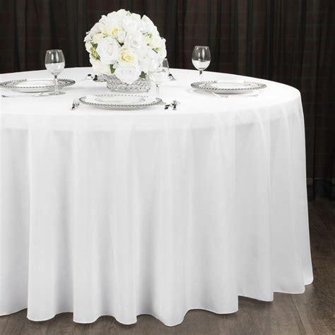 "Economy Polyester Tablecloth 120"" Round White Round"