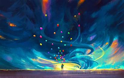 Digital Painting Children Balloon Abstract Wallpapers Pink