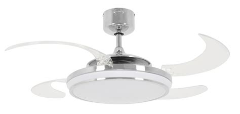 retractable ceiling fan fanaway led evo chrome ceiling