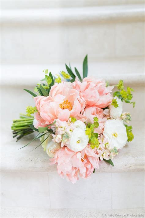 Classic And Elegant Bridal Bouquet Of Coral Charm Peony