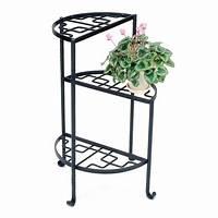 wrought iron plant stands ACHLA Designs Iris 31.5-in Black Indoor/Outdoor Half-Round ...