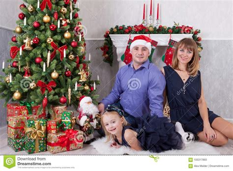 New Celebrate Family Friends Life: Christmas Or New Year Celebration. Happy Young Family At