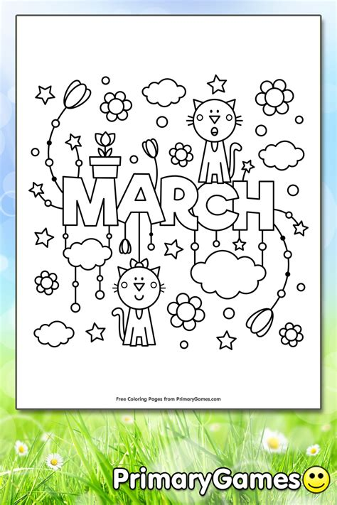 march coloring page printable spring coloring  primarygames