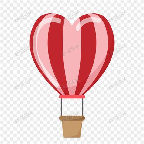 globo aerostático en forma de corazón con rayas Imagen
