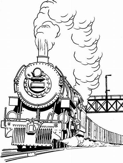 Train Steam Coloring Pages Smoke Engine Trains