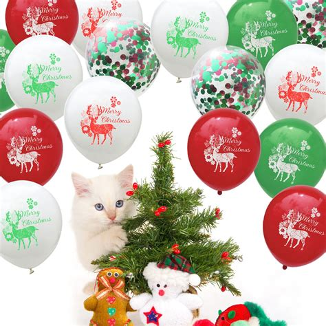 christmas latex balloon set red green sequins confetti