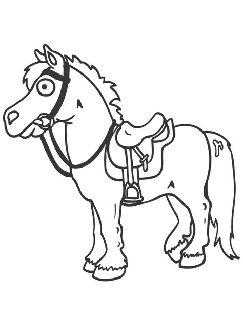 cartoon horse  saddle coloring page   coloring pages