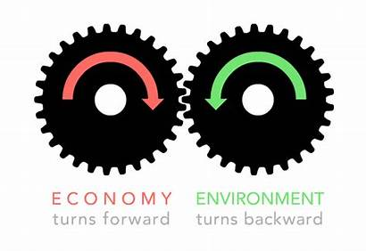 Economy Environment Turning Gear Direction While