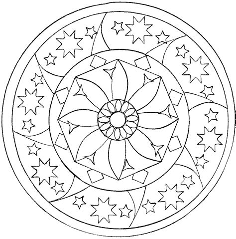 star mandala mandalas adult coloring pages