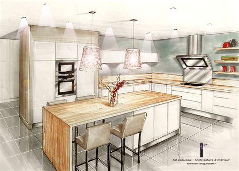cuisine en perspective conception et décoration d 39 une cuisine entrée et pièce à