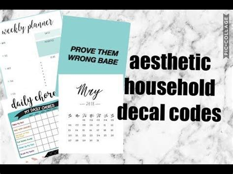 aesthetic household picture codes planners chores