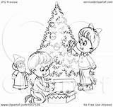 Outline Christmas Tree Coloring Trimming Children Clip Illustration Royalty Clipart Funny Bannykh Alex Trimmers Quotes Copyright Quotesgram sketch template