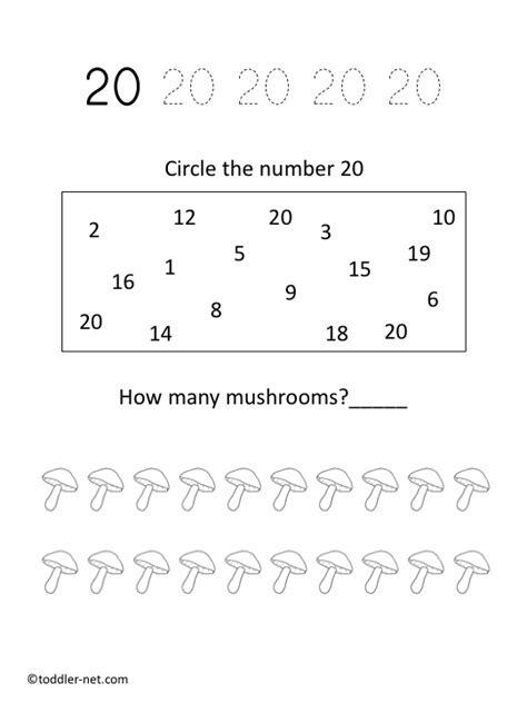free printable number 20 worksheet