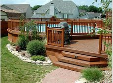 Multi Level Above Ground Pool Deck Design Ideas for Exotic