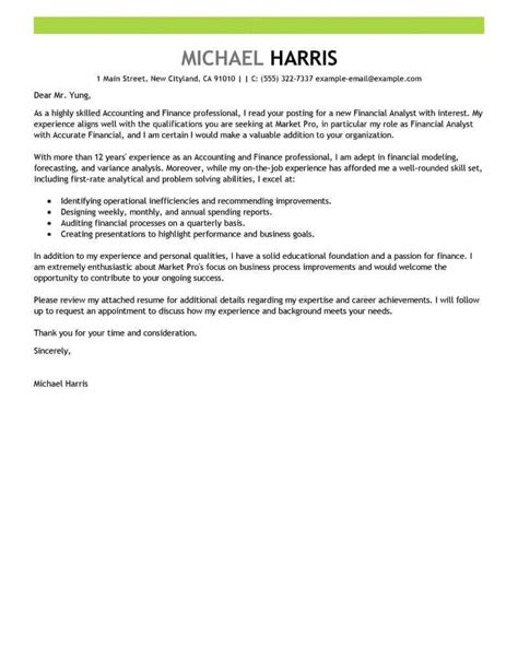 accounting finance cover letter examples livecareer