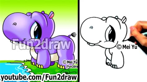 draw cartoons cute baby hippo easy drawings