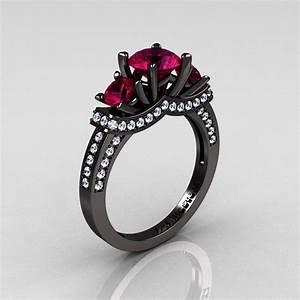 French 14K Black Gold Three Stone Raspberry Red Garnet