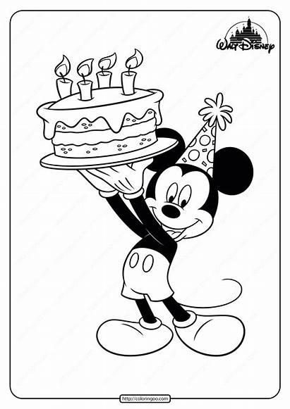 Mickey Mouse Printable Coloring Birthday Disney Pdf