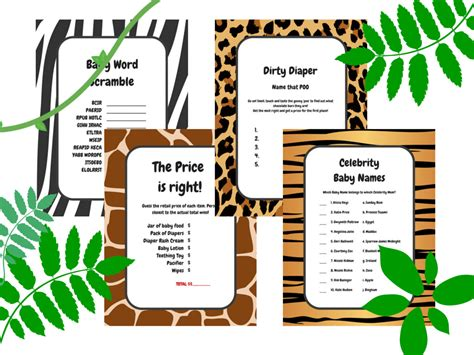 jungle animals baby shower game magical printable