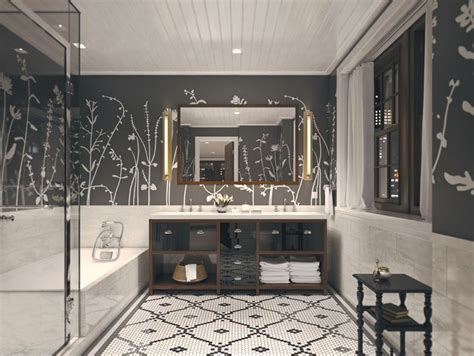 flooring and decor modern master bathroom with interior wallpaper master